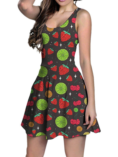 Neon Fruity Drip (Ash Grey) Racerback Tank Dress Racerback Dress Electro Threads