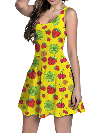 Neon Fruity Drip (Yellow) Racerback Tank Dress Racerback Dress Electro Threads