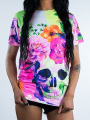 Neon Life and Death Women's Crew T-Shirts Electro Threads