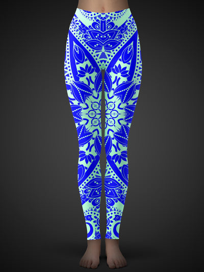 Neon-Orange Lotus Mandala Leggings Leggings Electro Threads