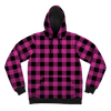 Neon Pink Black Plaid Pullover Hoodies T6