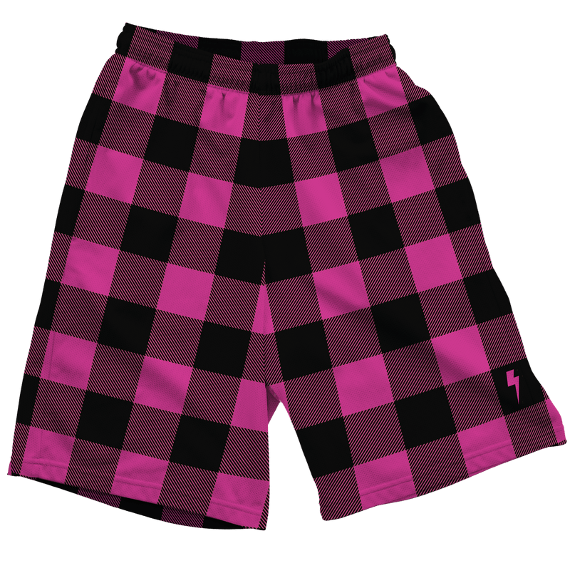 Neon Pink & Black Plaid Shorts Mens Shorts T6