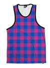 Neon Pink & Blue Plaid Unisex Tank Top Tank Tops T6