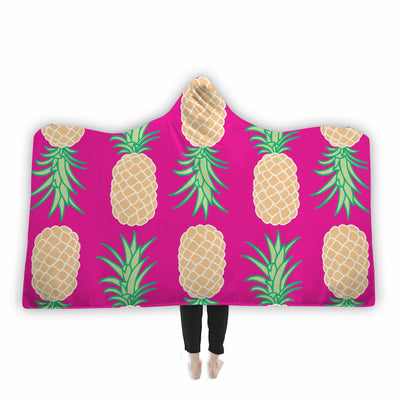 Neon Pink Pineapple Hooded Blanket Hooded Blanket Electro Threads