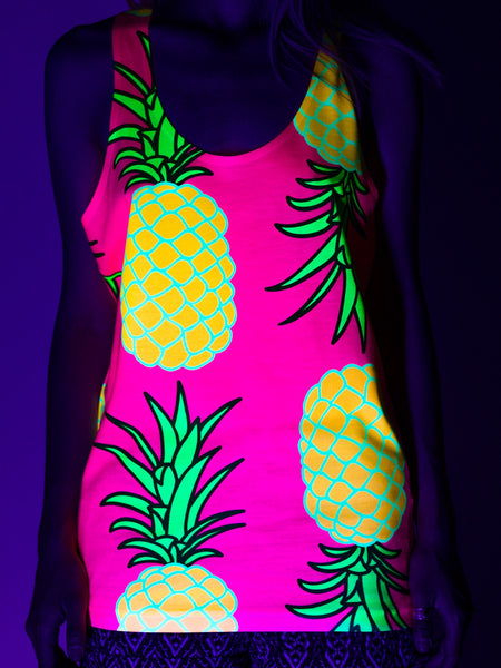Neon Pink Pineapple Unisex Tank Top Tank Tops Electro Threads