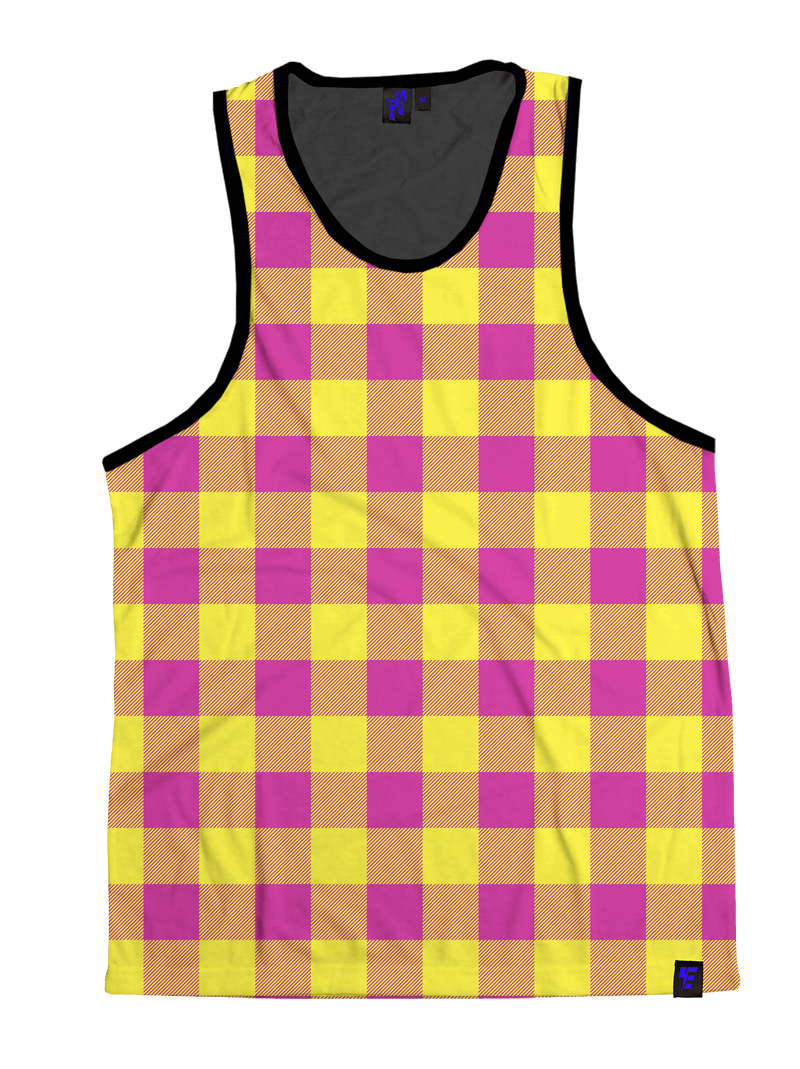 Neon Pink & Yellow Plaid Unisex Tank Top Tank Tops T6