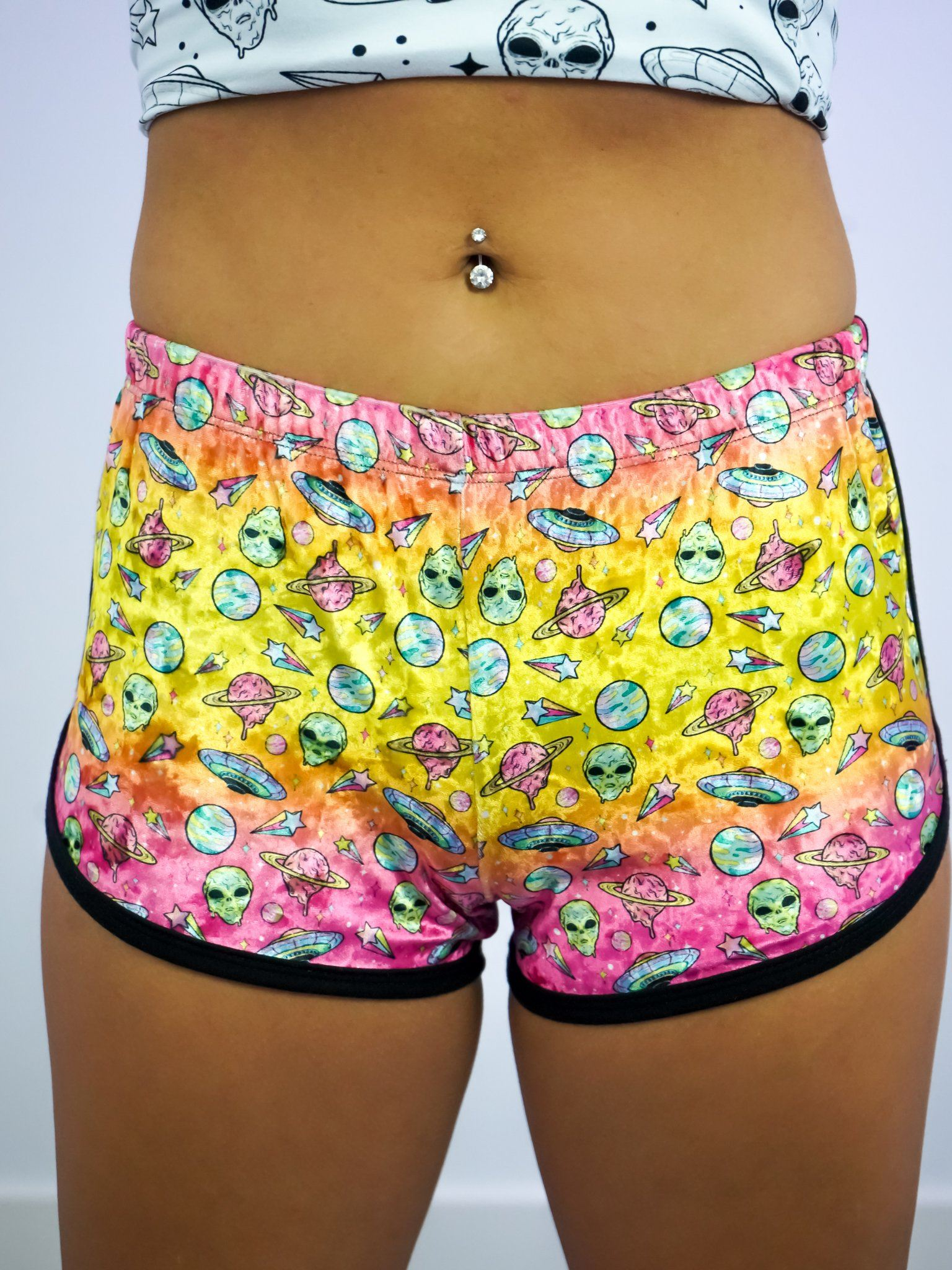 Neon Rainbow Space Retro Shorts Women's Shorts Electro Threads