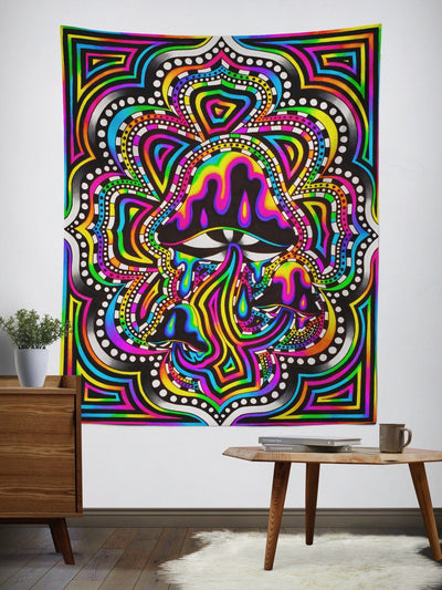 Neon Shroomz Wall Tapestry Tapestry Electro Threads