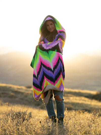 Neon Vibe Up Hooded Blanket Hooded Blanket Electro Threads