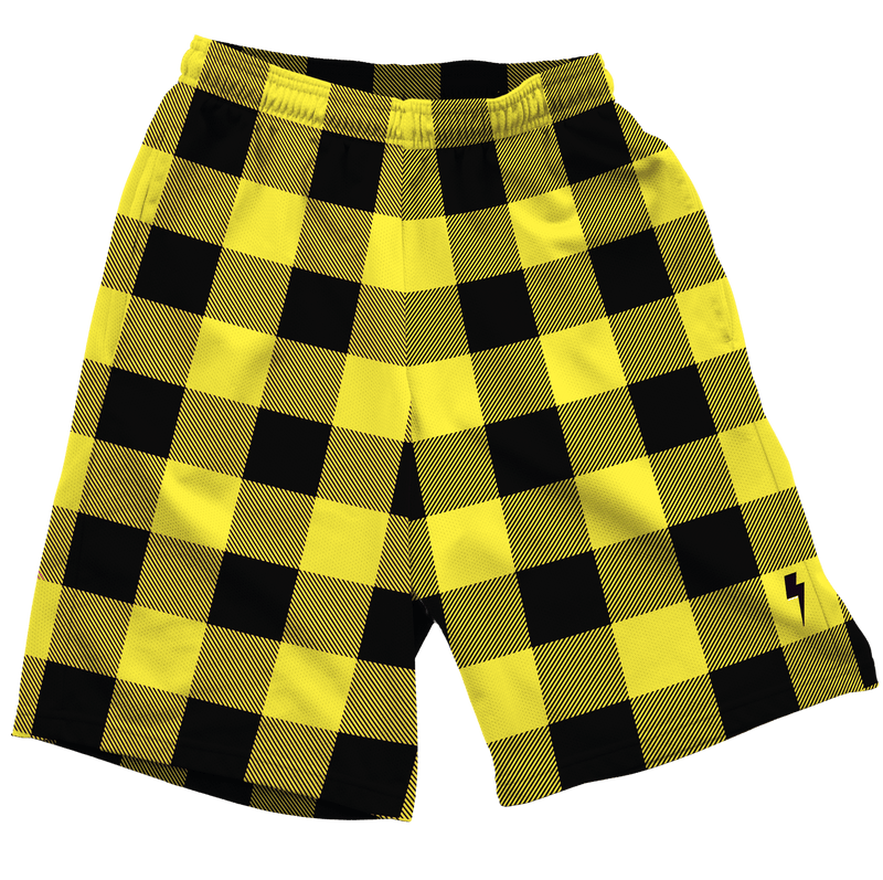 Neon Yellow & Black Plaid Shorts Mens Shorts T6