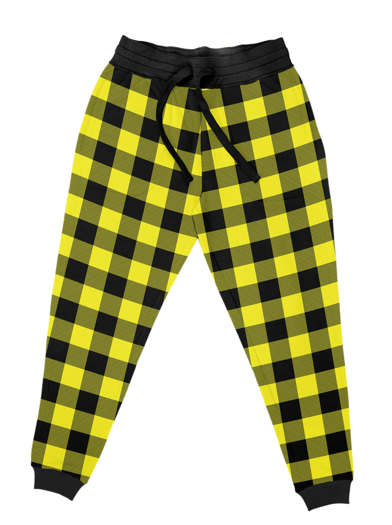 Neon Yellow Black Plaid Unisex Joggers Jogger Pant T6