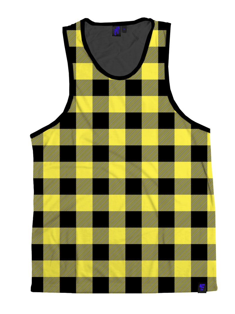Neon Yellow & Black Plaid Unisex Tank Top Tank Tops T6