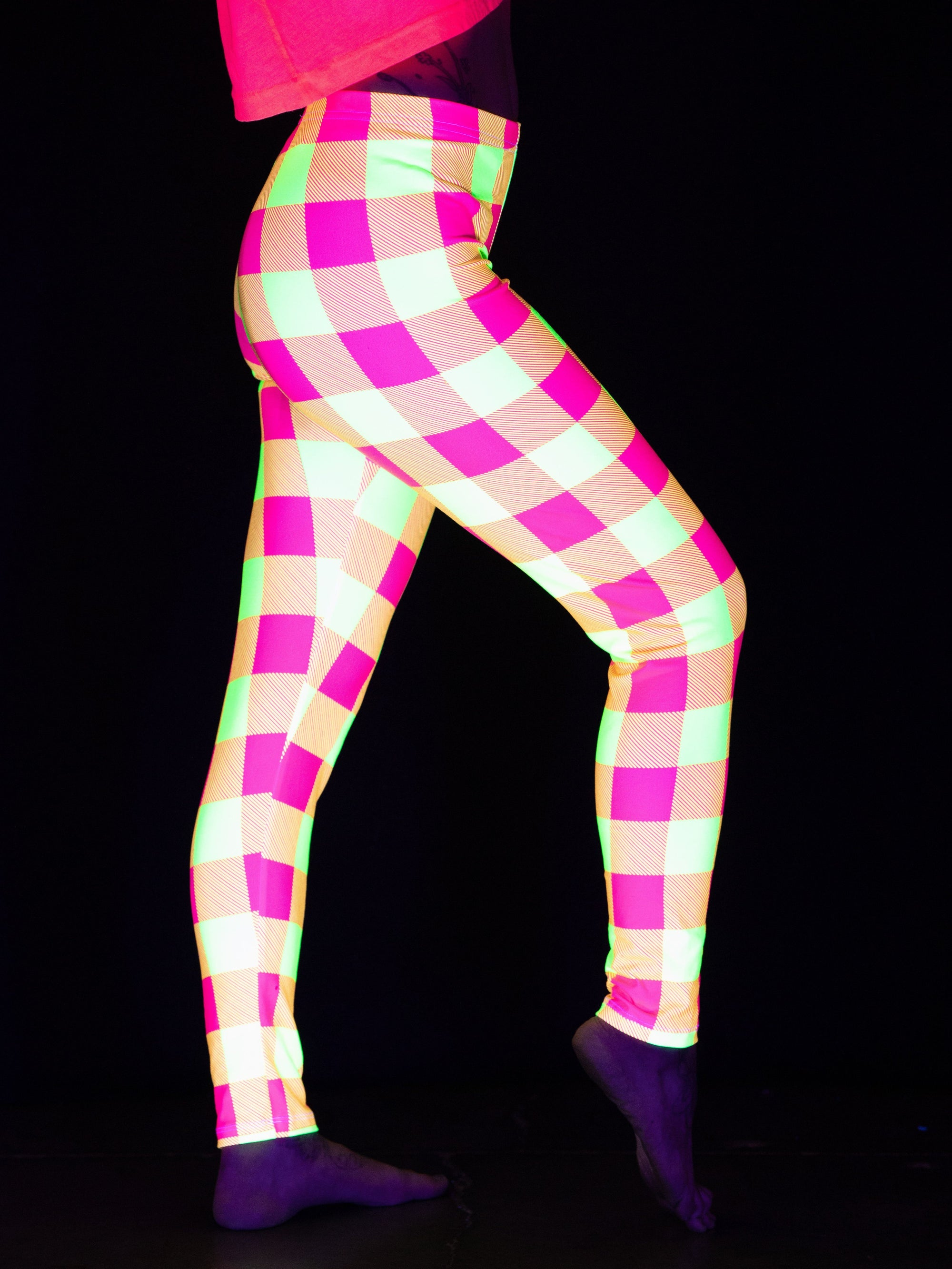 Neon Yellow & Pink Plaid Tights Tights T6