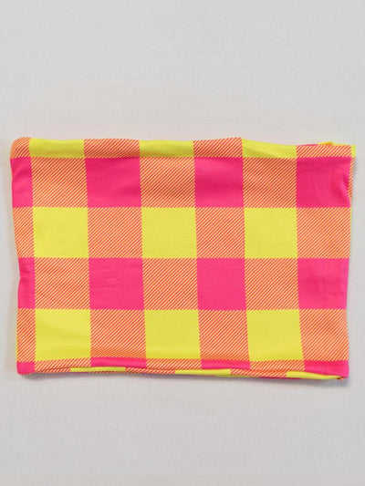 Neon Yellow & Pink Plaid Tube Top Tube Top T6