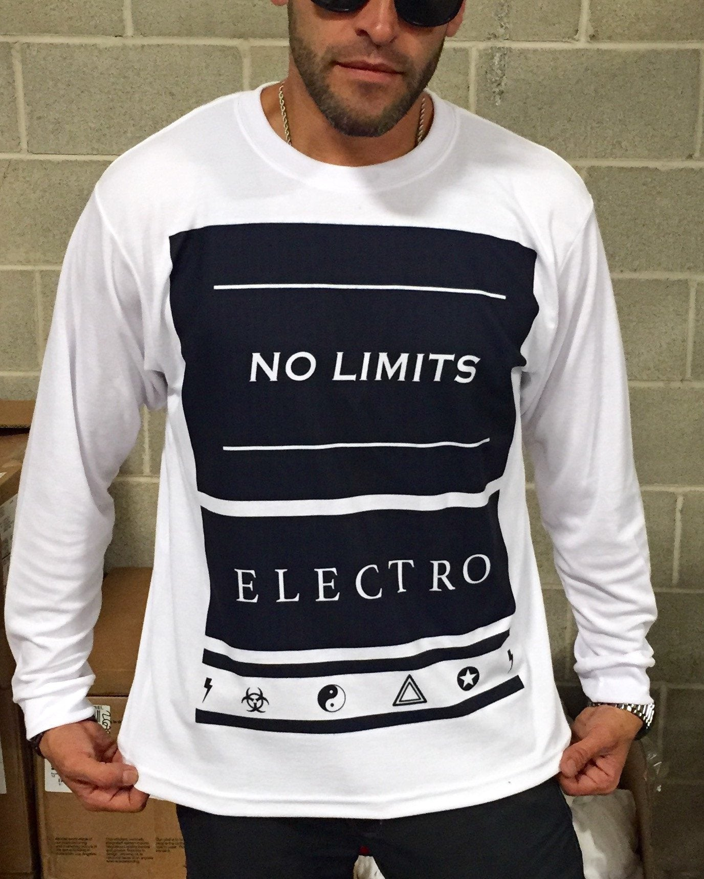 No Limits Mens Long Sleeve Long Sleeve Electro Threads X-Small Long-Sleeve