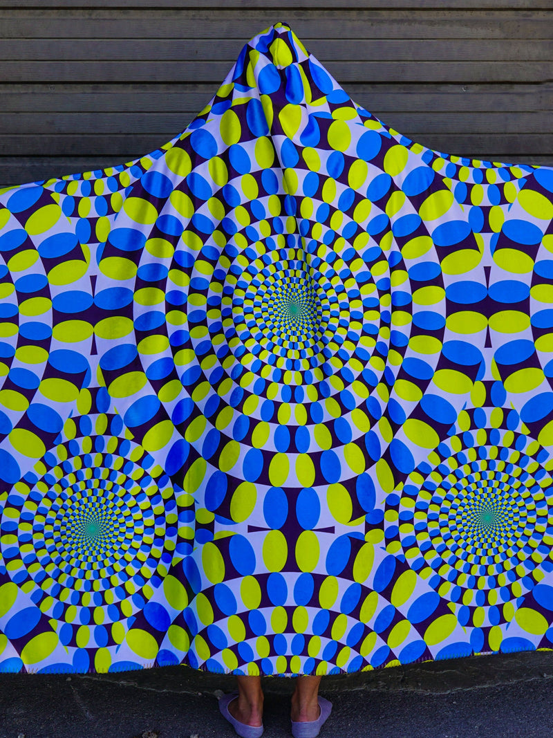 Optical Illusion 1 Hooded Blanket Hooded Blanket Electro Threads