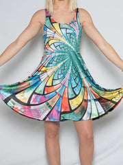 Optical Stained Glass Flowy Racerback Dress Racerback Dress T6