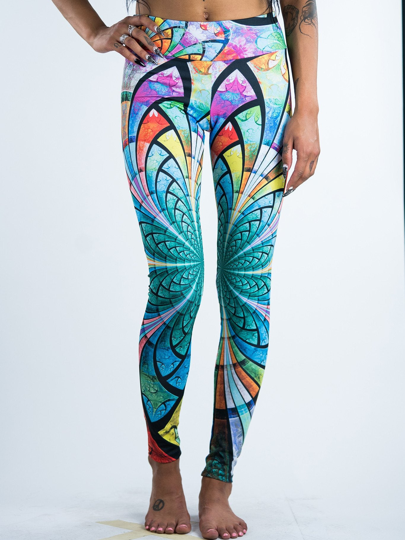 Optical Stained Glass Leggings Leggings T6