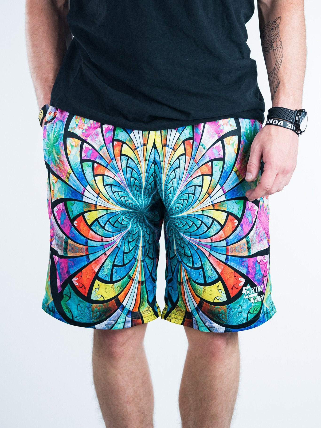 Optical Stained Glass Shorts Mens Shorts T6 28 - XS Green