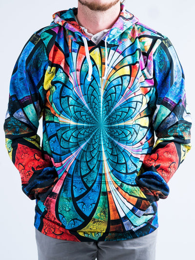 Optical Stained Glass Unisex Hoodie Pullover Hoodies T6 XS Green Pullover Hoodie