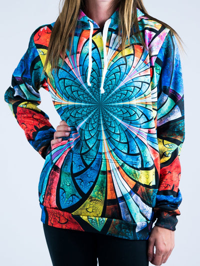 Optical Stained Glass Unisex Hoodie Pullover Hoodies T6 X-Small Green Pullover Hoodie