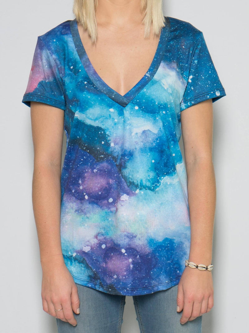 Painted Galaxy Women's V-Neck Tee T-Shirts T6