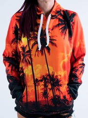 Palm Tree Sunset Unisex Hoodie Pullover Hoodies T6 X-Small Orange Pullover Hoodie