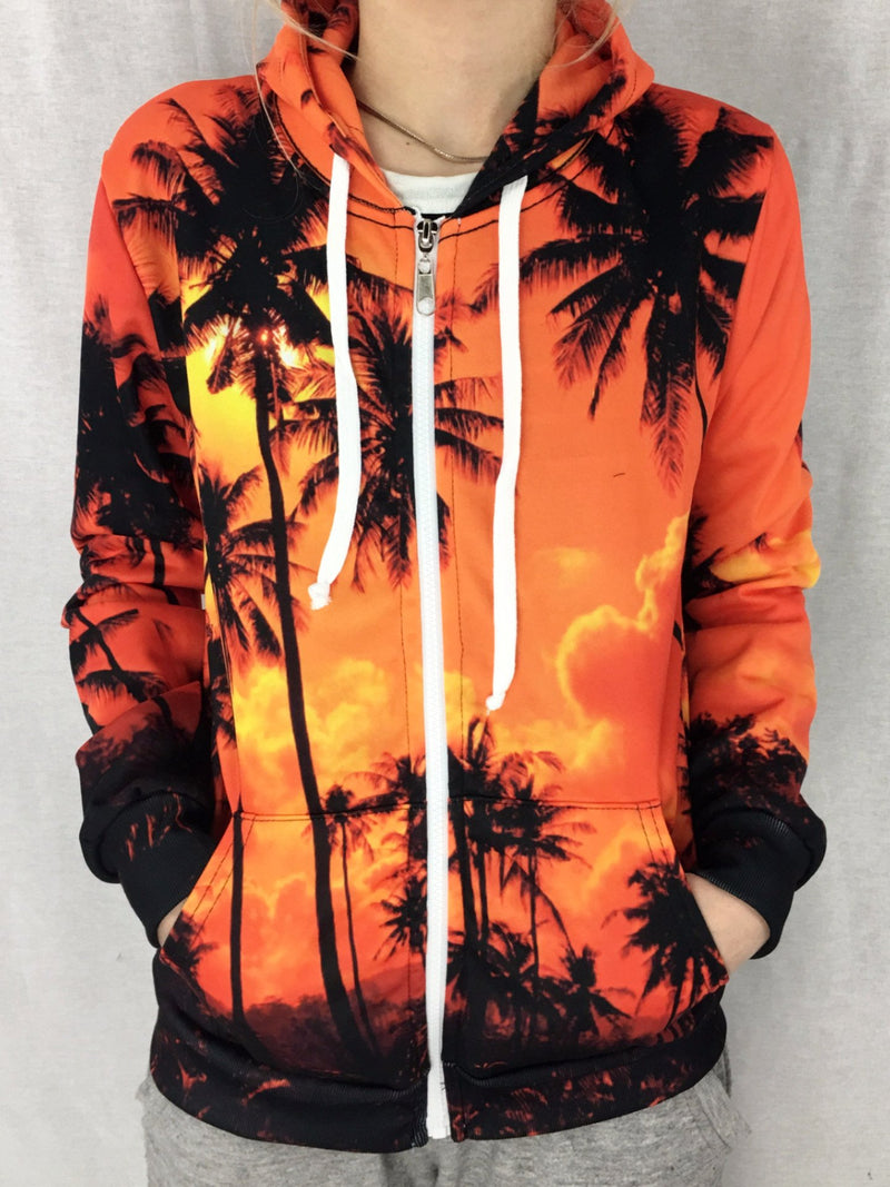 Palm Tree Sunset Unisex Zip Hoodie Pullover Hoodies T6