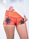 Palm Tree Sunset Yoga Shorts Yoga Shorts T6 XS Low Waist Orange