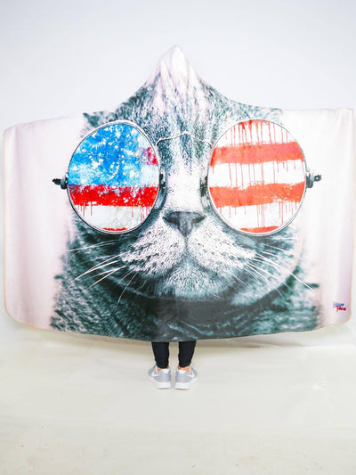 Patriotic Cat Hooded Blanket Hooded Blanket Electro Threads