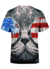 Patriotic Cat Unisex Crew T-Shirts T6