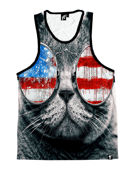 Patriotic Cat Unisex Tank Top Tank Tops T6 X-Small