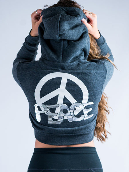 Peace Crop Hoodie Crop Hoodie Electro Threads