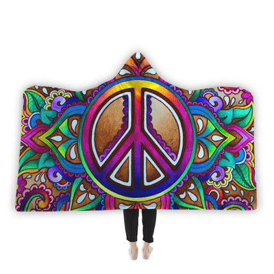 Peace Love Paisley Hooded Blanket Hooded Blanket Electro Threads
