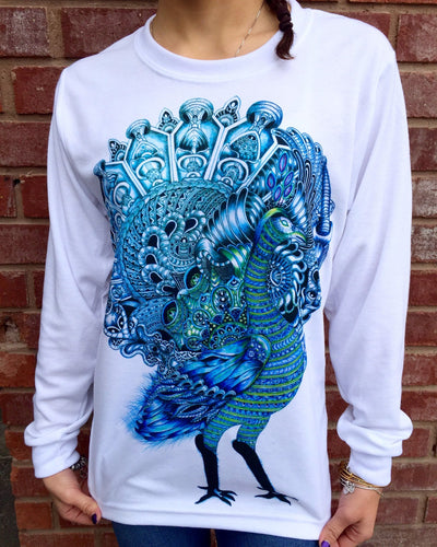 Peacock Unisex Long Sleeve Shirt Long Sleeve Electro Threads X-Small