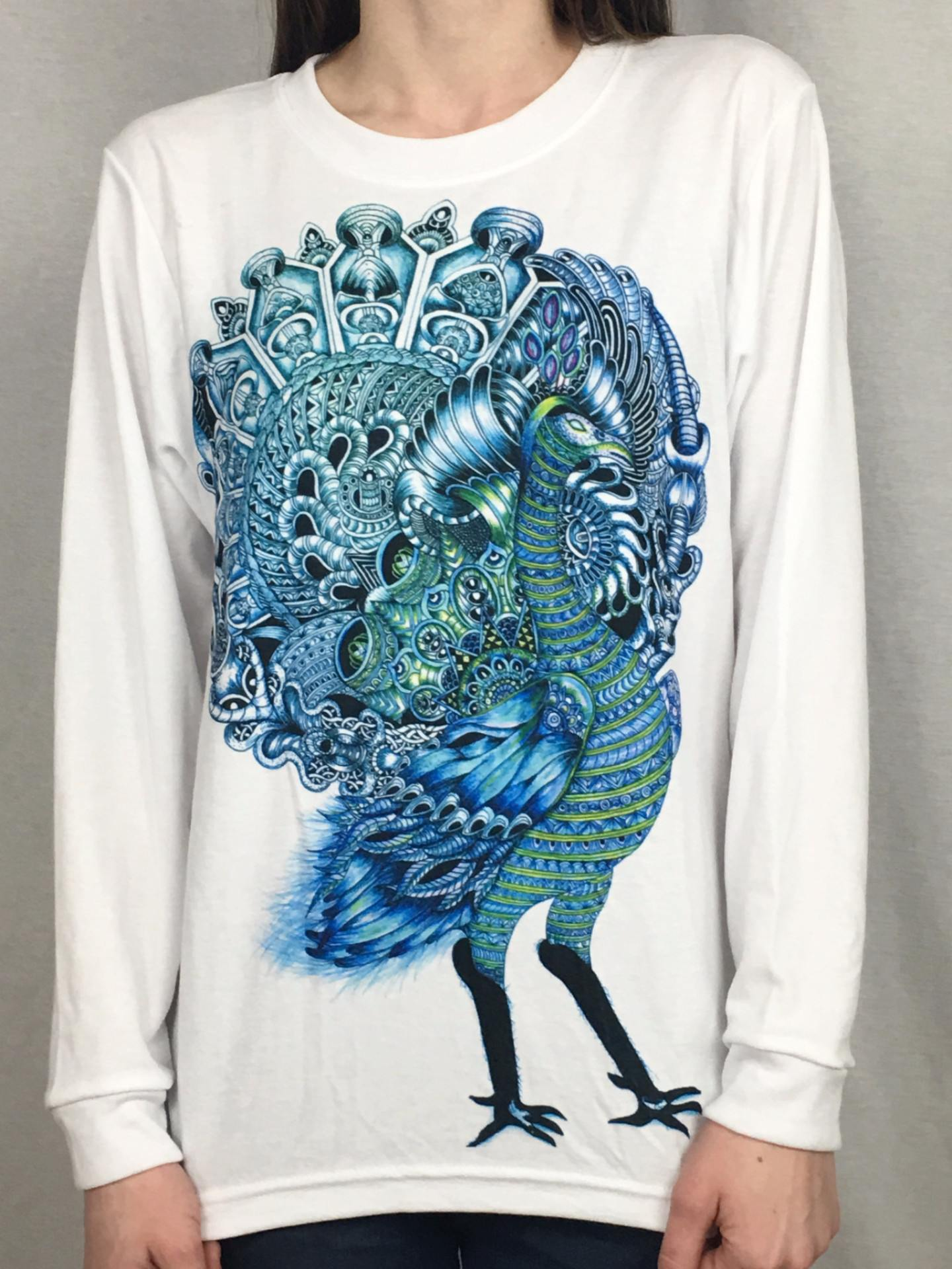 Peacock Unisex Long Sleeve Shirt Long Sleeve Electro Threads