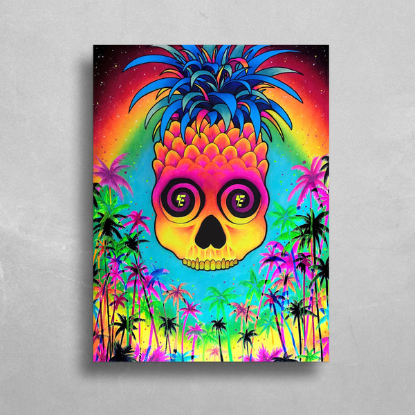Pineapple Daze HD Metal Panel Print Ready to Hang HD Metal Print Electro Threads