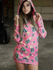 Pink Pineapple Hooded Dress Hoodie Dress T6