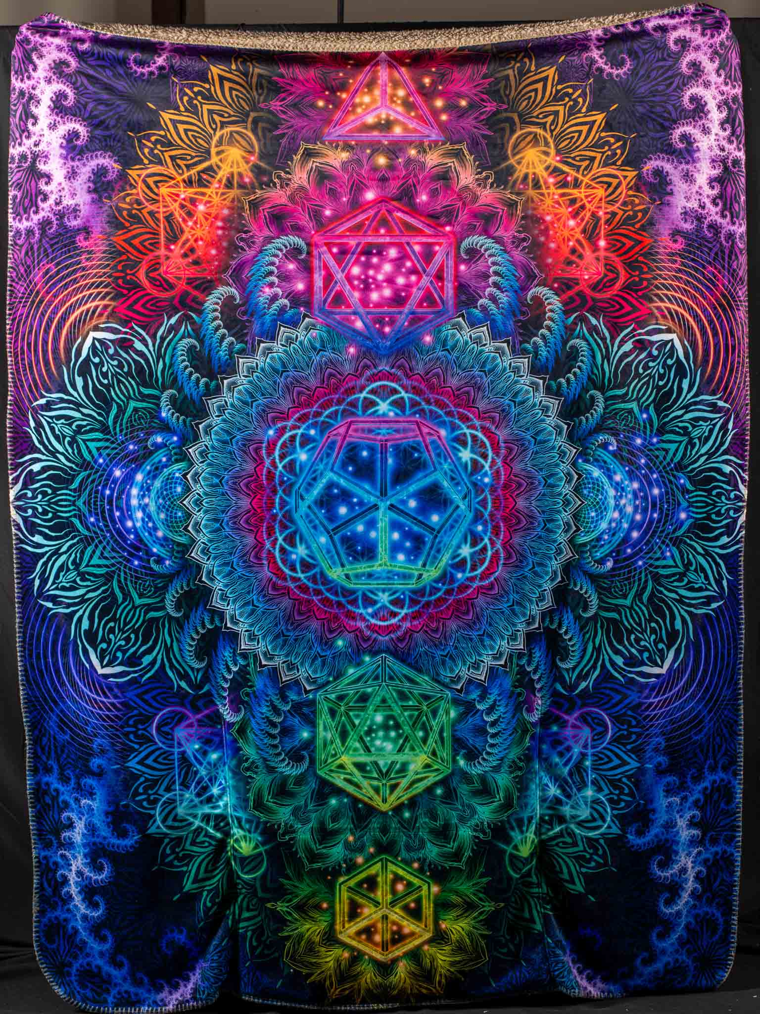 Platonic Mandala Footed Blanket Electro Threads