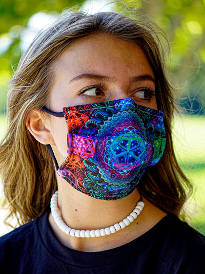 Platonic Mandala V2 Face Mask Face Masks Electro Threads