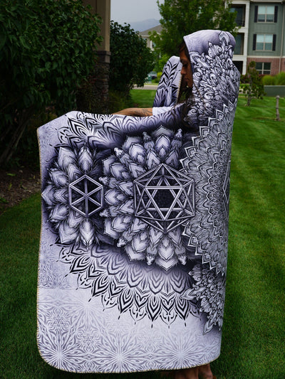 Platonic Mandala White Hooded Blanket Hooded Blanket Electro Threads