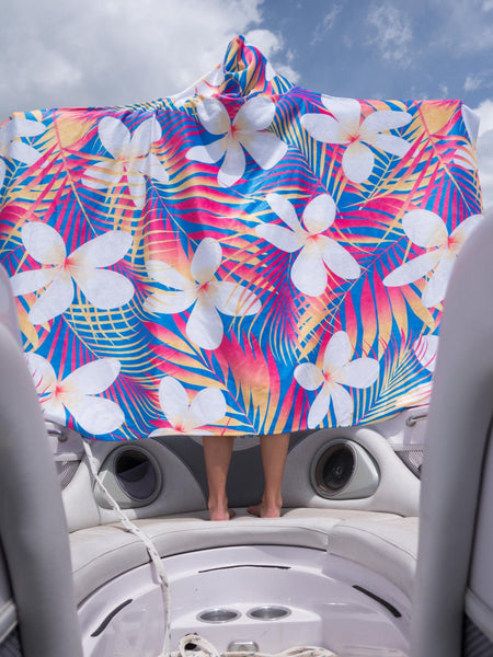 Plumeria Flower Hooded Mega Towel - with FREE Galaxy Sunglasses Hooded Towel Electro Threads