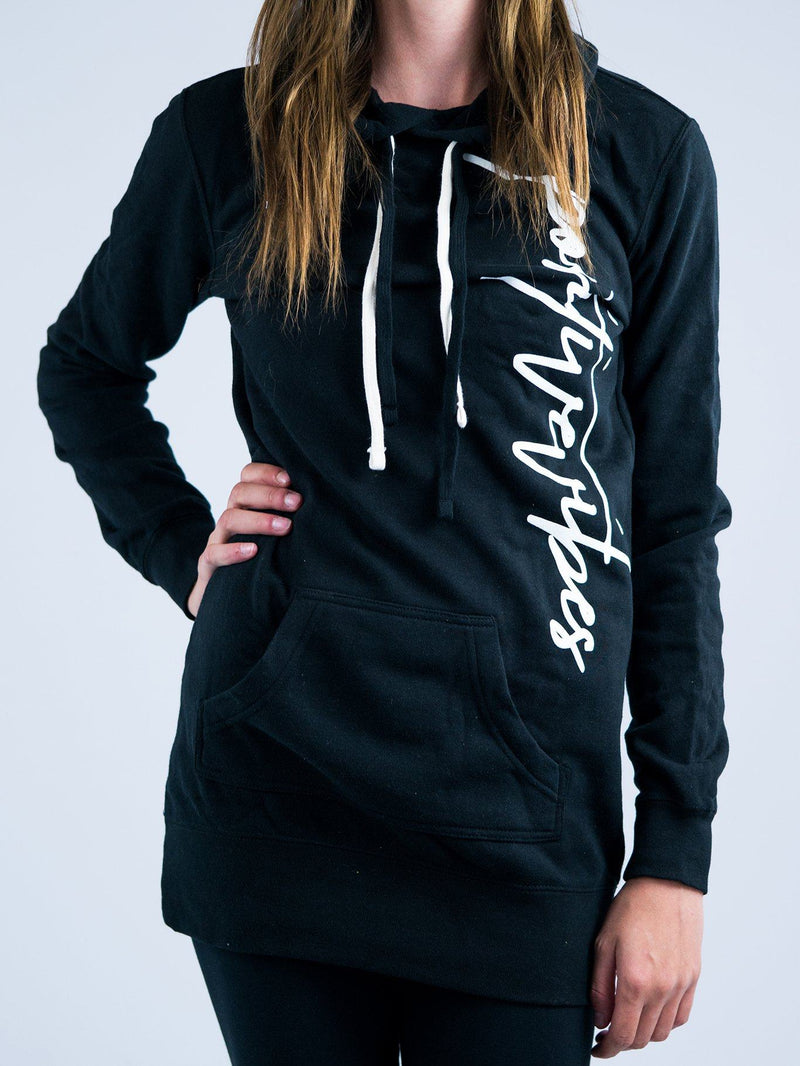 Positive Vibes Hoodie Dress Hoodie Dress Electro Threads X-Small Carbon