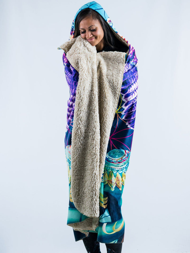 Power And Peace Hooded Blanket Hooded Blanket Electro Threads