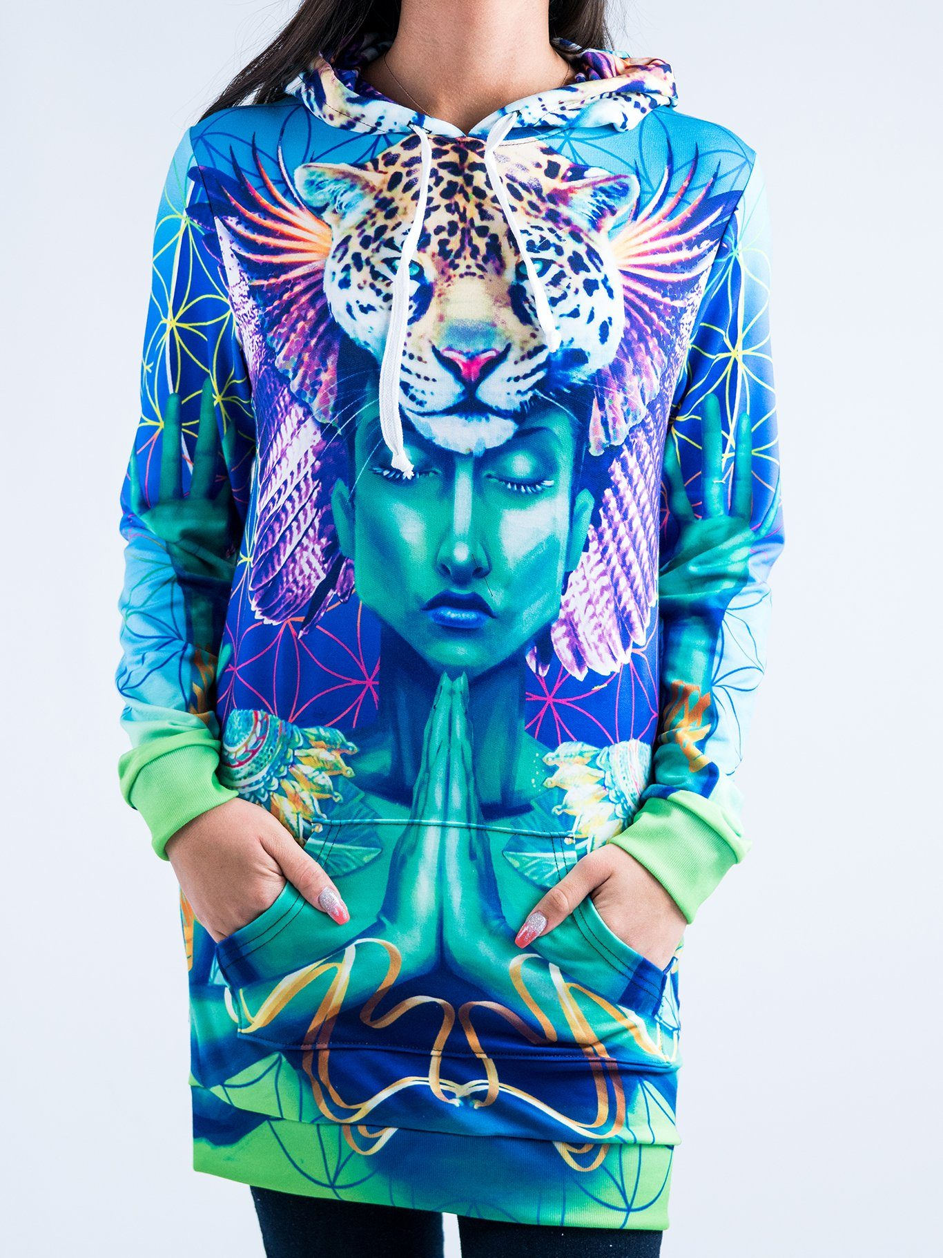 Power and Peace Hooded Dress Hoodie Dress T6 XS Blue