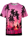 Purple Palms Unisex Crew T-Shirts T6 XS Pink