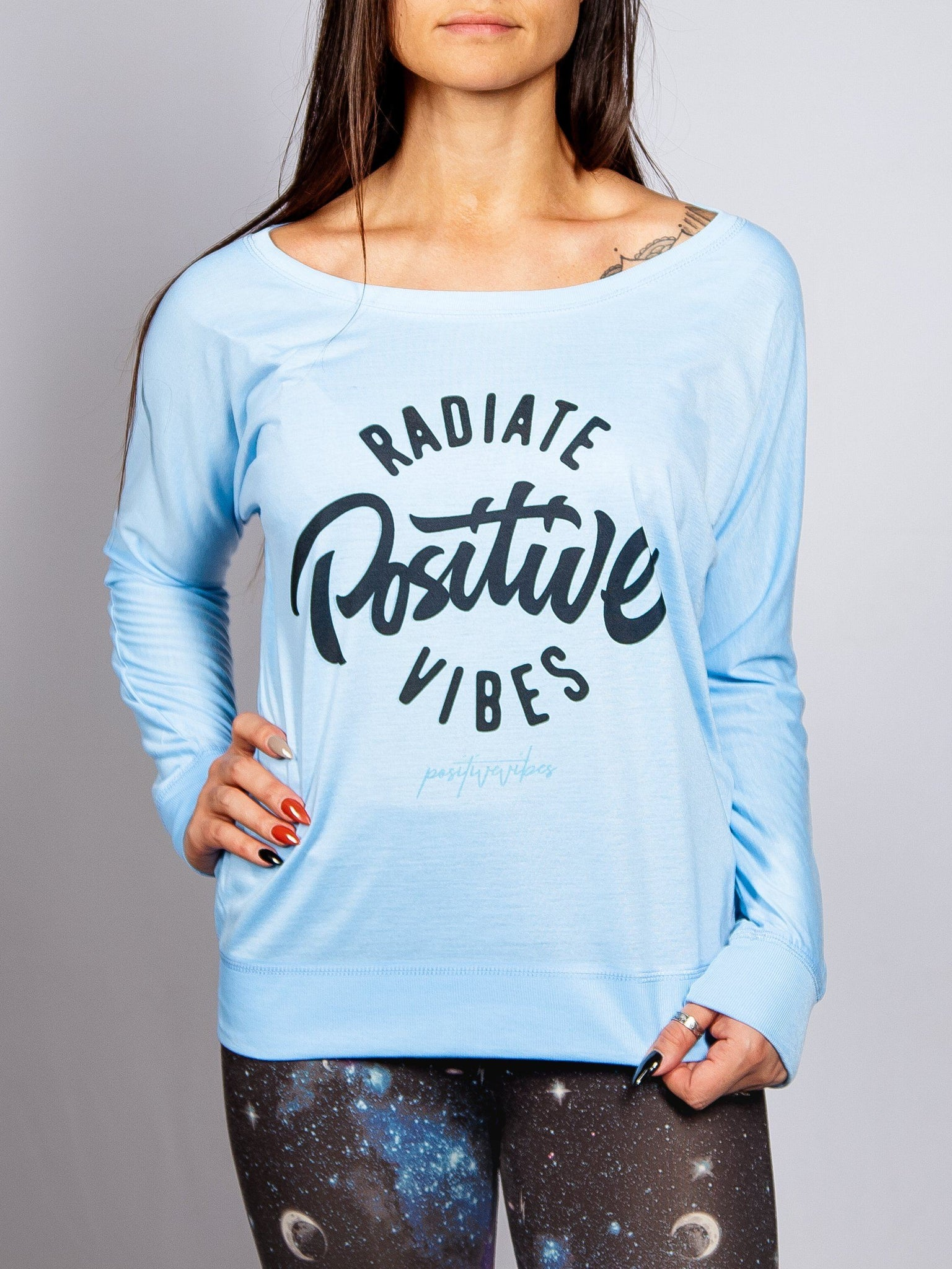Radiate Positive Vibes Off Shoulder Off Shoulder Electro Threads