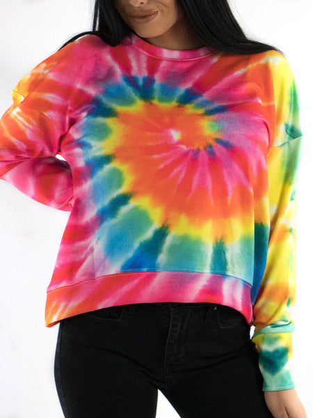 Rainbow Tie Dye Drop Shoulder Sweatshirt Sweatshirt T6