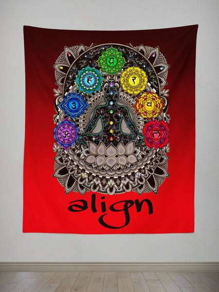 Red Align Tapestry Tapestry Electro Threads