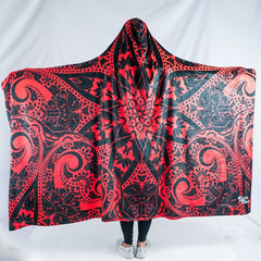 Red Mandala Hooded Blanket Hooded Blanket Electro Threads ADULT 60